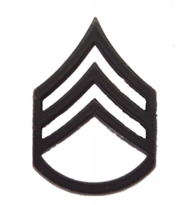 Army Pin-on Collar Rank, E-6, Staff Sgt, Blk