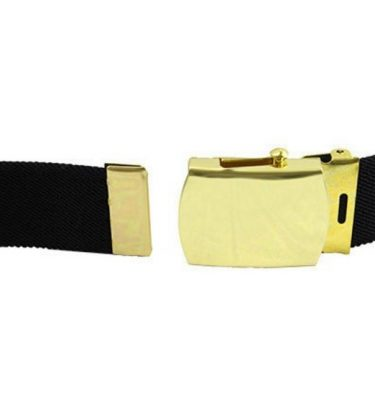 Army Elastic Black Belt, Brass Buckle Closed Face