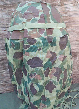 ww2 marine corps green and brown mitch style camo mosquito headnet face cover for hats or helmets