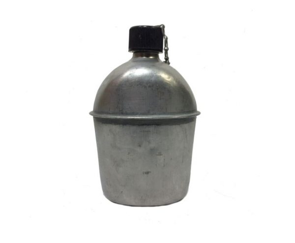 military surplus army canteen metal stainless used condition
