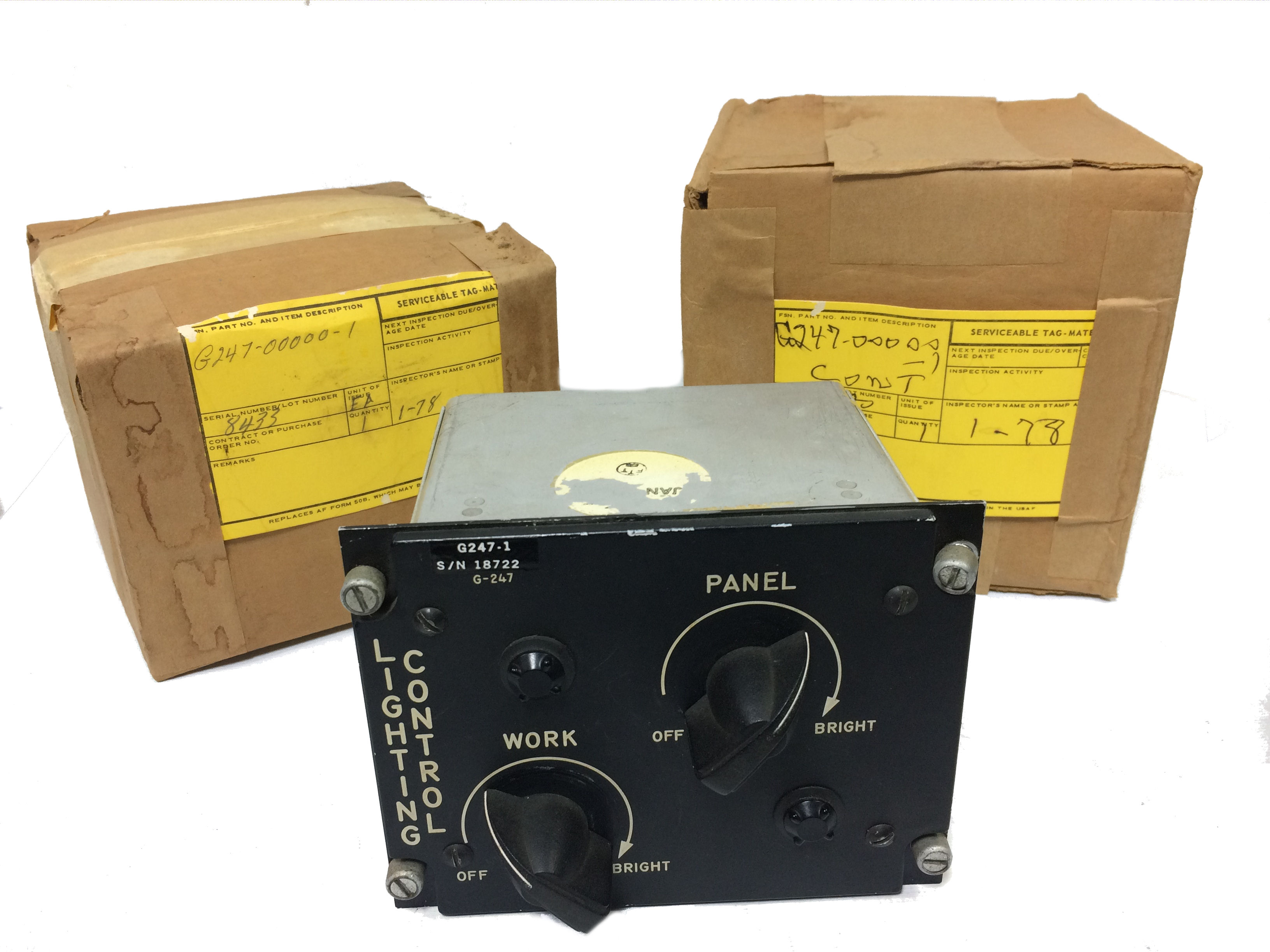 G247 Lighting Control gauge for military aircraft control panel