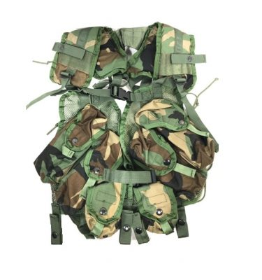 military surplus tactical woodland load bearing vest, lbv