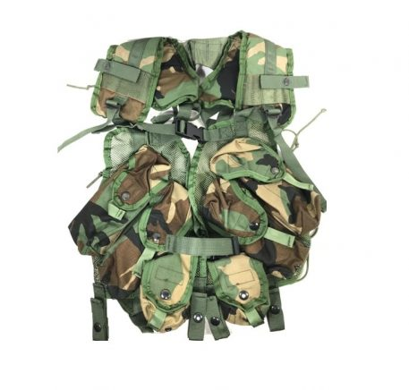 military surplus tactical woodland load bearing vest, lbv