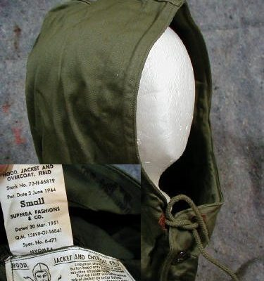 WW2  M-43 Field Jacket Hood