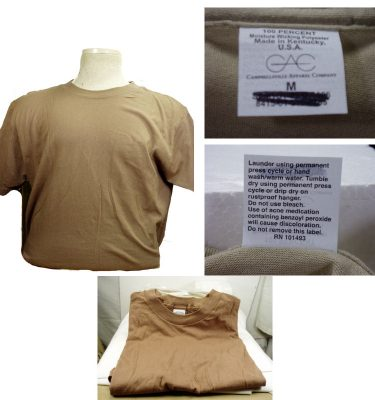 Military T-shirt, Brown, 3pk