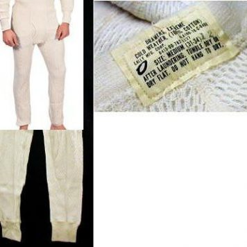 Long Underwear, Pant, 100% Cotton,med.
