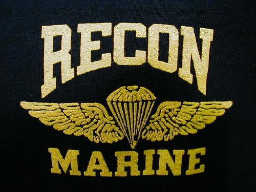 Marines T-shirt Black Recon, Small Logo