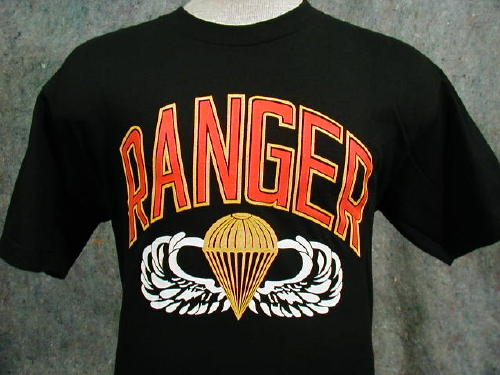 Army T-shirt Black Ranger Large Logo, Parachute