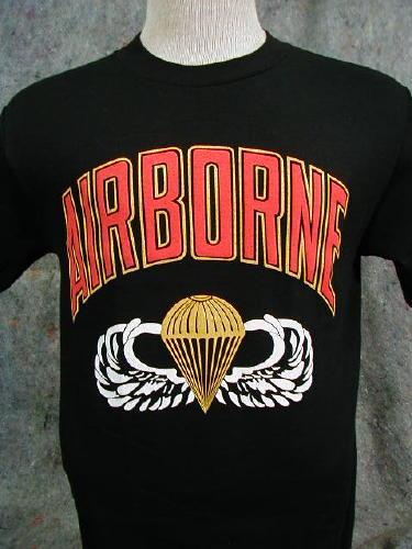 Army T-shirt Black Airborne Large Logo, Parachute