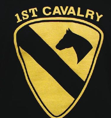 Army T-shirt Black 1st Cavalry, Large Logo