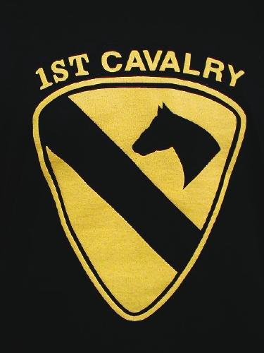 Army T-shirt Black 1st Cavalry, Large Logo