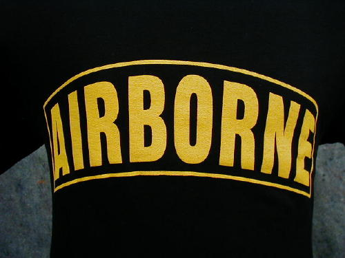 Army T-shirt  Black Airborne, Large Logo