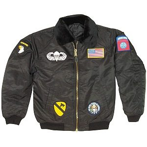 Kid's Flight Jacket With Patches, Black