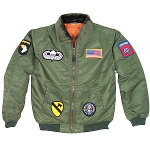 Kid's Flight Jacket With Patches, Green