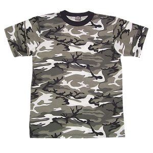Camo T-shirt White Urban, Short Sleeve