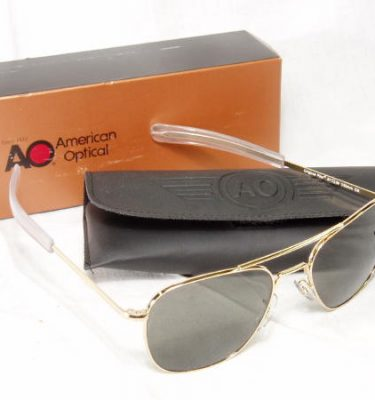 American Optical Pilot Sunglasses, Gold Bayonet, 52mm