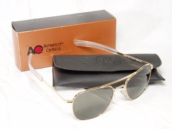 American Optical Pilot Sunglasses, Gold Bayonet, 52mm