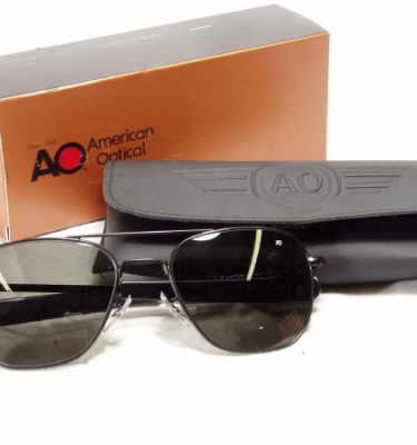 American Optical Pilot Sunglasses Black Bayo 57mm