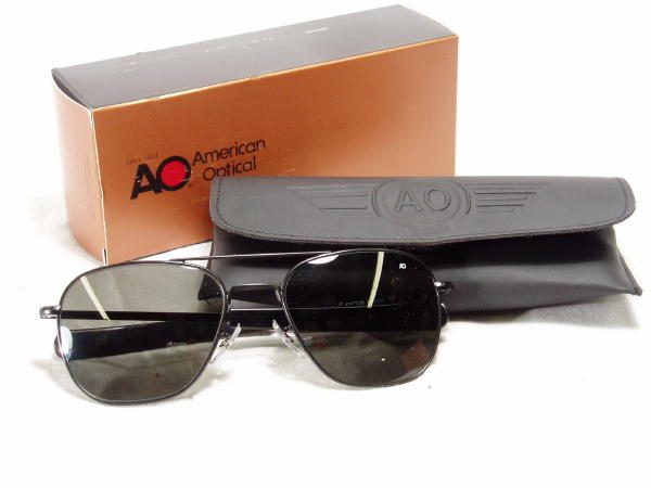 American Optical Pilot Sunglasses Black Bayo 57mm
