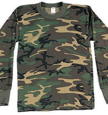 Long Sleeve T-shirt, Woodland Camo