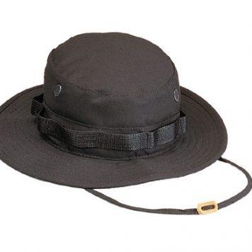 Military Boonie Hat, Black 50/50 Rip Stop