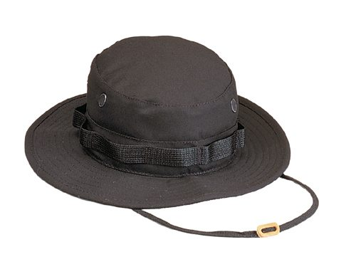 Military Boonie Hat, Black 50/50 Rip Stop