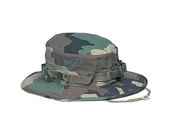 Military Boonie Hat, Woodland 50/50 Rip Stop