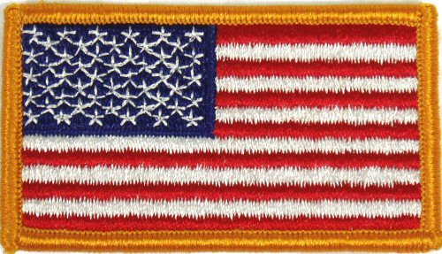 Flag-patch, US Gold Border 2 X 3