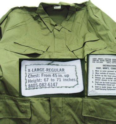 Vietnam Poplin Jungle Shirt, X-large Regular-stained