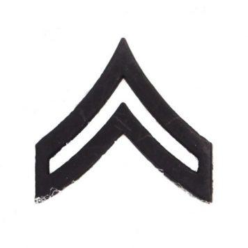 Army Pin-on Collar Rank, E-4, Corporal, Blk