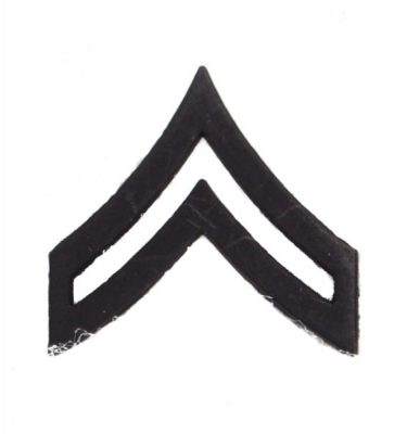 Army Pin-on Collar Rank, E-4, Corporal, Blk