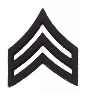 Army Pin-on Collar Rank, E-5, Sgt, Blk