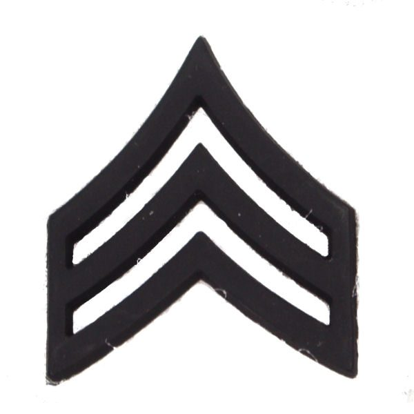 Army Pin-on Collar Rank, E-5, Sgt, Blk