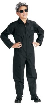 Kid's Flightsuit Black Plain