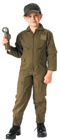 Kid's Flightsuit Olive Drab Plain