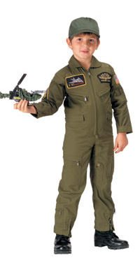 Kid's Flightsuit Olive Drab With Patches