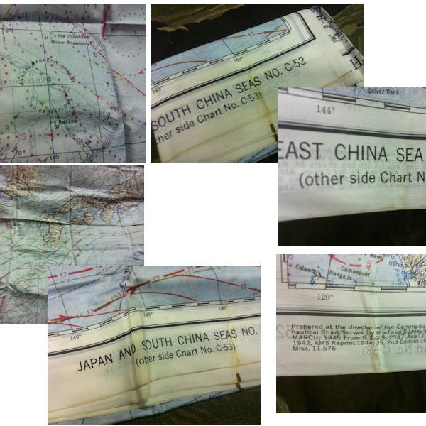 WW2 Silk Survival Map China Seas