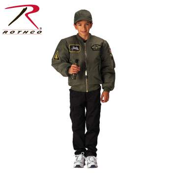 Kid's Flight Jacket with patches, od
