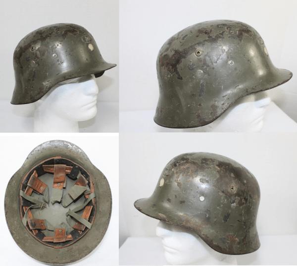 Spanish German Style Helmet, Cotton/Leather