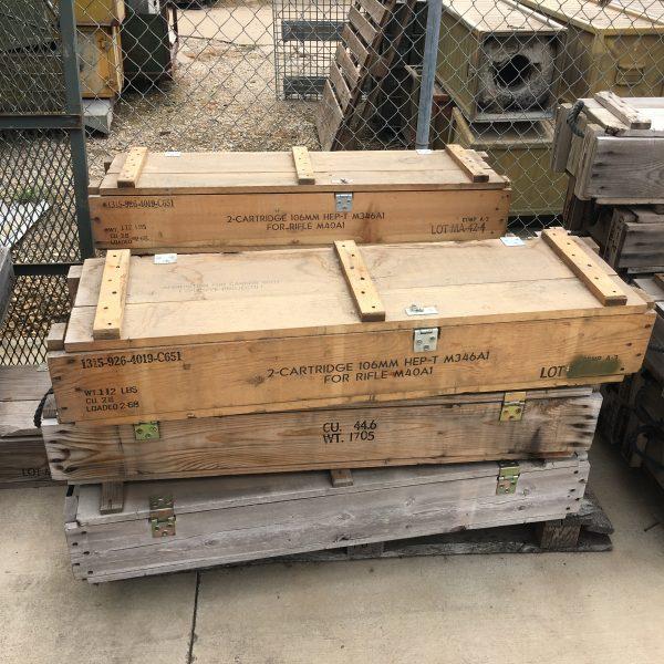 wooden ammunition crates