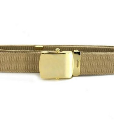 USN Khaki Belt, Gold plate Closed Face Buckle