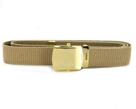 USN Khaki Belt, Gold plate Closed Face Buckle