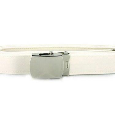 USN White Belt, Chrome Closed Face Buckle