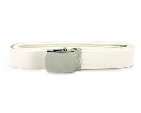 USN White Belt, Chrome Closed Face Buckle