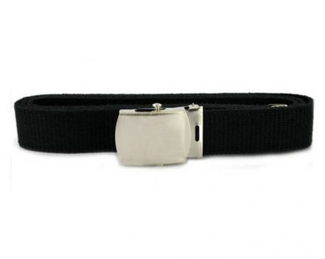 USN Black Belt, Silver Brushed Stainless Closed Face Buckle