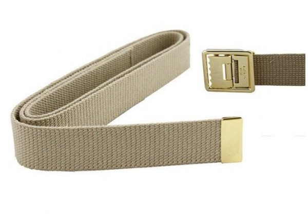 USMC Khaki Belt, Open-Face Stay Brite Brass Buckle