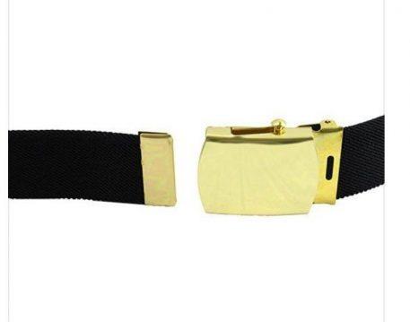 Army Elastic Black Belt, Brass Buckle Closed Face