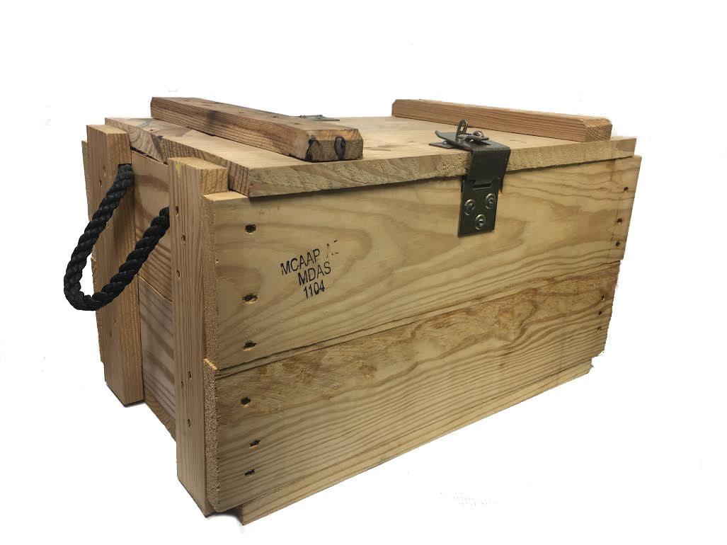 wood military box with rope handles genuine surplus