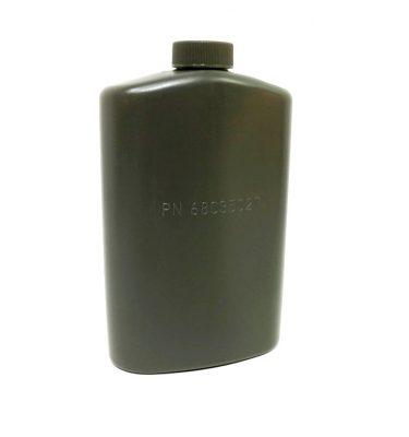 military surplus olive drab 1 pint pilots flask, plastic