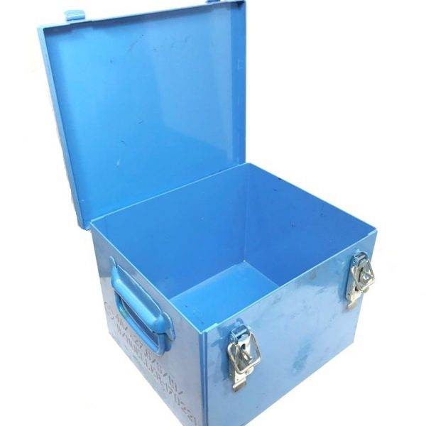military surplus blue metal storage container box